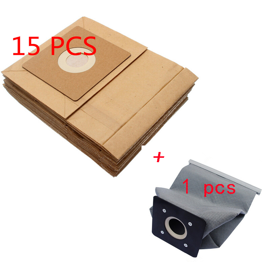 Бесплатный почтовый 15 шт. общие пылесос бумажные мешки + 1 pcs моющиеся мешок 100*110mm Диаметр 50mm пылесос аксессуары части