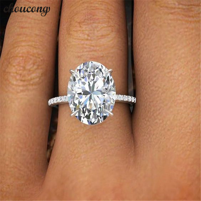 Choucong 2018 Promise Finger Ring 925 Sterling Silver Oval Cut 3ct AAAAA Sona Cz Engagement Band Rings For Women Wedding Jewelry