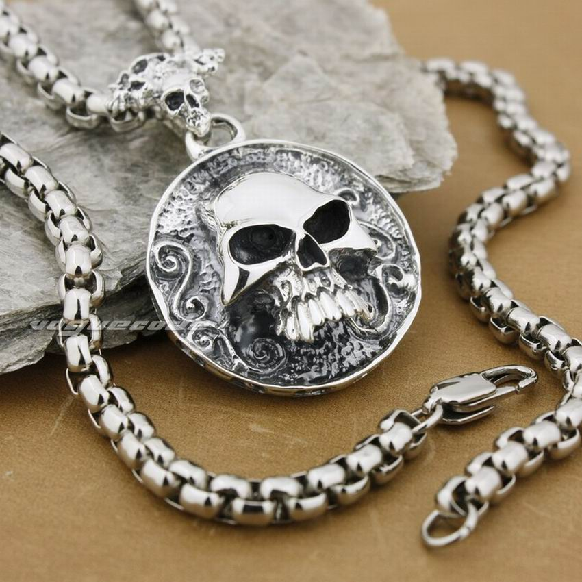LINSION Huge Heay Solid 925 Sterling Silver Skull Mens Biker Rock Punk Pendant 8C005 linsion 925 sterling silver wire pliers pendant mens biker rock punk skull wrench pendant 8a032 stainless steel necklace 24