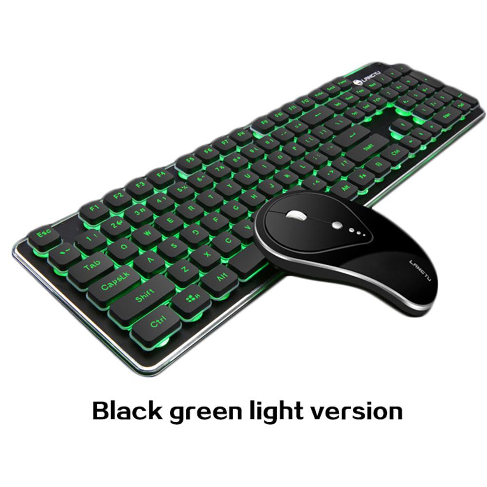 Новинка 2018 года Высокое качество LT600 перезаряжаемые световой Mute беспроводной игровая клавиатура мышь комплект челнока 8,25
