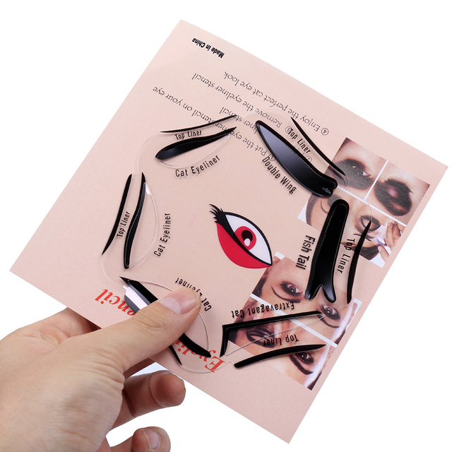 6 in 1 Piece Makeup Cat Fish Tail Double Wing Stencils Eyeliner Stencil Kit Model for Eyebrows Template Fard a Paupiere Card 1