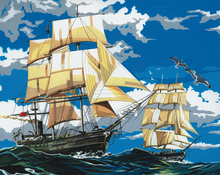 5D DIY Diamond Painting Sea Scenery Full Square  Embroidery Ship Birds Picture of Rhinestones Mosaic