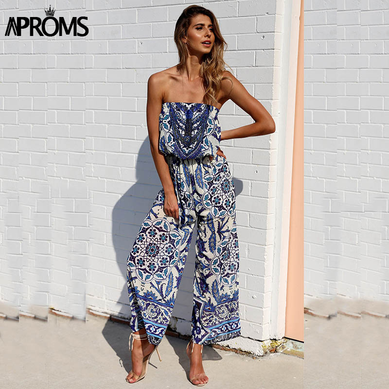 fbef71c511c8 Detail Feedback Questions about Aproms Boho Enthnic Floral Print Long  Jumpsuits Womens Off Shoulder Rompers Summer Style Party Beach Overalls for  Women ...