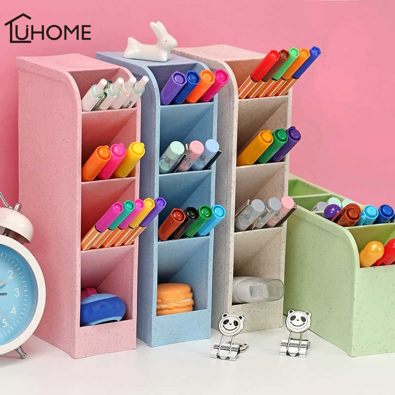 4 Grid Multi-function Desktop Storage Box Case Plastic Make Up Brush Cosmetic Holder Desk Pen Pencil Organizer Sundries Storage