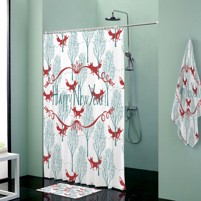 Fox Print Custom Shower Curtains Set Towels Curtain Bath Mat Towel