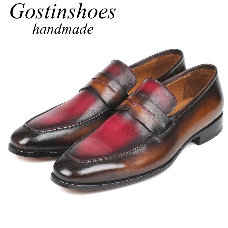 GOSTINSHOES HANDMADE Goodyear Welted Men Loafers Brown Bordeaux Color Cow Leather Pointed Slip-On Men Casual Leather Shoe SCZ045GOSTINSHOES HANDMADE Goodyear Welted Men Loafers Brown Bordeaux Color Cow Leather Pointed Slip-On Men Casual Leather Shoe SCZ045