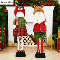 Table Display Window Christmas Decoration 2pcs/lot Santa Claus+Snowman Christmas Doll Retractable Stand Toy Kids New Year Gift