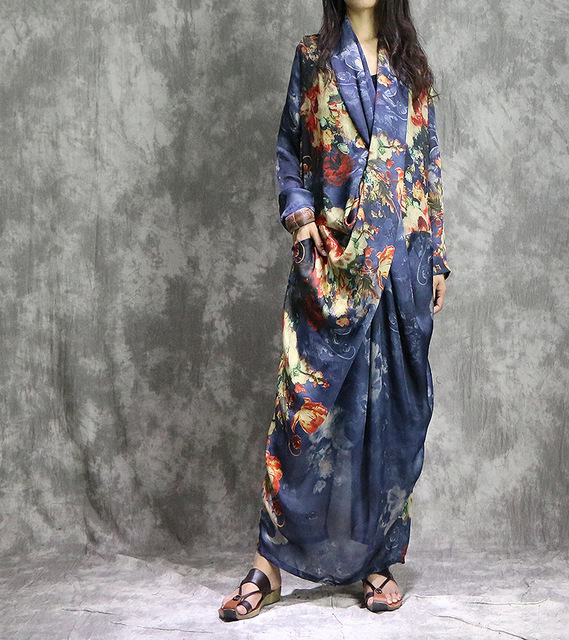 נשים מודפס אופנה קיץ 2 חתיכות חליפת שמלת (מחוץ ובתוך אפוד שמלת) גבירותיי Loose מודפס שמלות