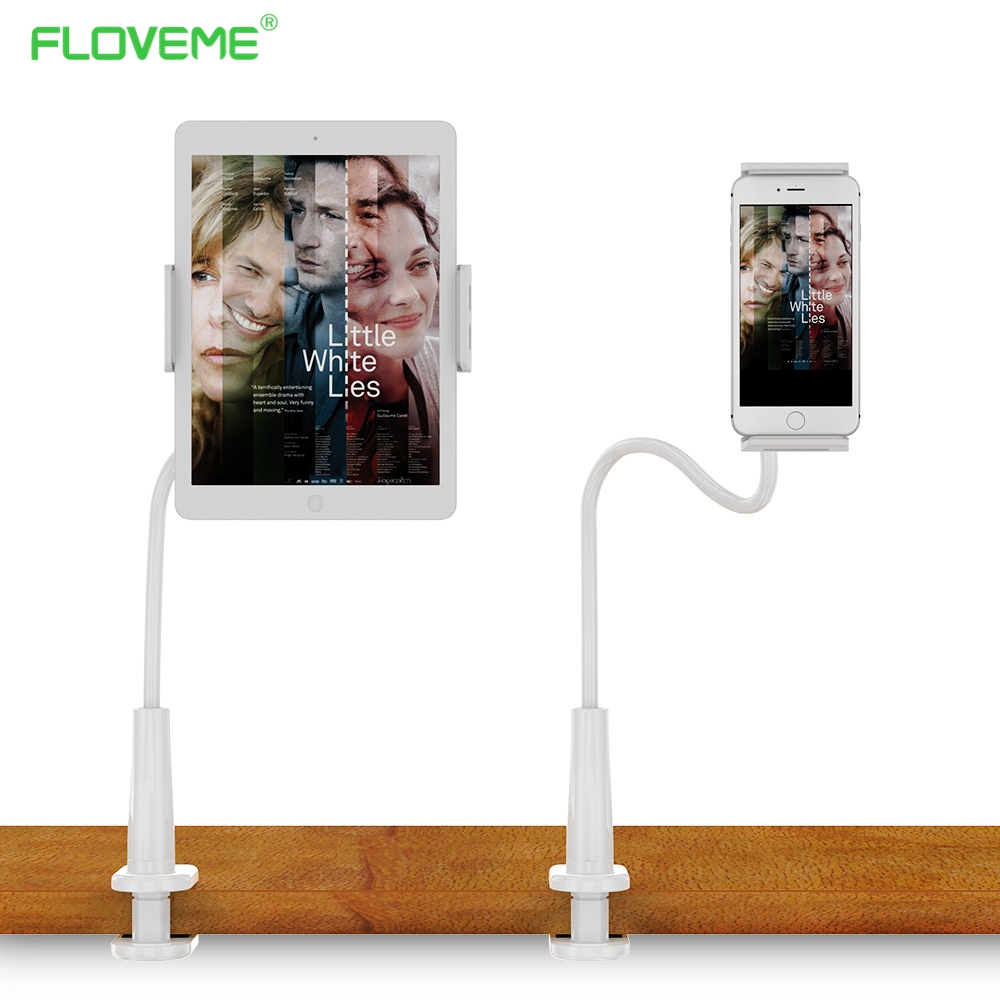 FLOVEME Lazy People Bed Desktop Tablet Mount for ipad mini 1 2 3 4 5 6 air pro Pad Holder Stand Tablet Stands Accessories xgear 360 rotary desktop flexible neck clip holder for 3 5 6 3 cell phones white green 85cm