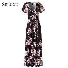 Seluxu New Casual Elegant Dresses Women 2019 Floral Print Ladies Maxi Dress Femme White Short Sleeve Sashes(China)