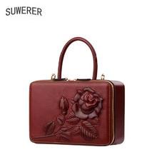c1070b443db SUWERER nieuwe Lederen vrouwen tassen voor vrouwen luxe handtassen vrouwen  tassen rose Reliëf vrouwen lederen handtassen