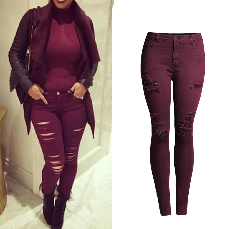 Red Wine Ripped Jeans Women Fashion Slim Skinny Jean Femme Scratched Push Up Plus Size Denim Pants Quality Cotton Trousers 4XL europe hot sale slim ripped women jean high waisted jeans cotton blue skinny jeans woman denim pants plus size