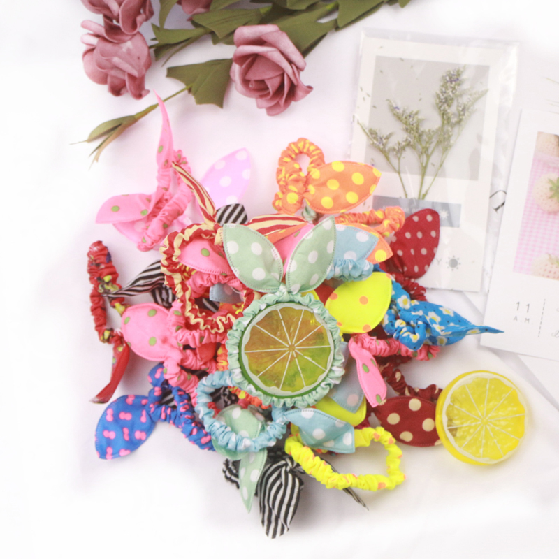 Mix 25PCS/Lot Lovely Style Rubber Bands Headbands Rabbit Ears Elastic Ponytail Holder Fashion Scrunchie Hair Ties Hair Accessory
