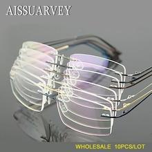 Hurtownie 10 sztuk/partia mężczyźni okulary ramki bez oprawek okularów optycznych marki receptę stopu tytanu światła biznes okulary tanie