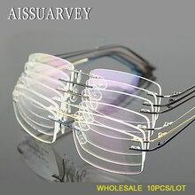 Toptan 10 adet/grup erkekler gözlük çerçeveleri çerçevesiz gözlük optik marka reçete titanyum alaşımlı ışık iş gözlük ucuz