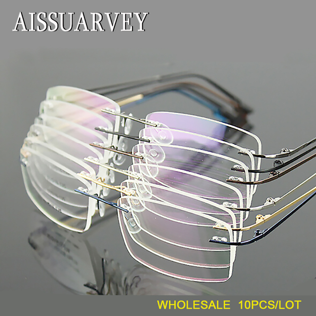 efe5713393 Wholesale 10pcs lot Men Glasses Frames Rimless Eyeglasses Optical Brand Prescription  Titanium Alloy Light Business Eyewear Cheap