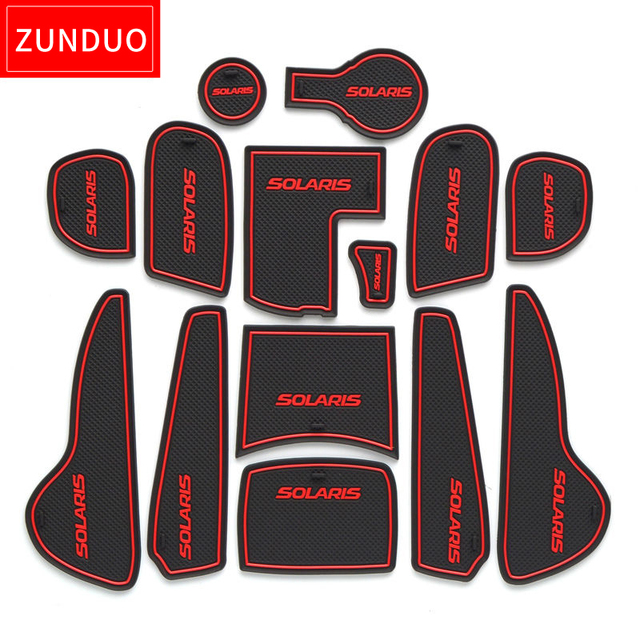 ZUNDUO Gate slot pad For Hyundai Solaris 2011-2016 Door Groove Mat Automotive interior Non-slip mats and dust mat red/blue/whit