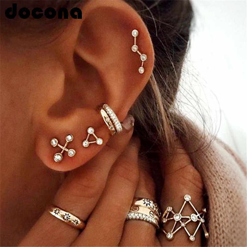 docona Crystal Constellation Stud Earring Ring for Women Star Contellation Zodiac Stud Earring Ring Dainty Jewelry Set