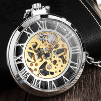 Retro Silver Transparent Mechanical Pocket Watch With Big Roman Numerals Steampunk Necklace Vintage Watch Hand Winding For Men
