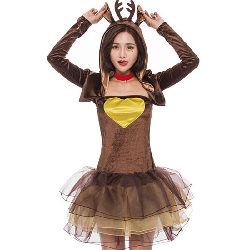 Cute Women Reindeer Costume Halloween Christmas Adult Party Performance Cosplay Clothing
