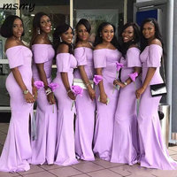 Off the Shoulder African Lavender Mermaid Bridesmaid Dresses with Short Sleeves Satin Sweep Train Cheap Wedding Guest Dresses
