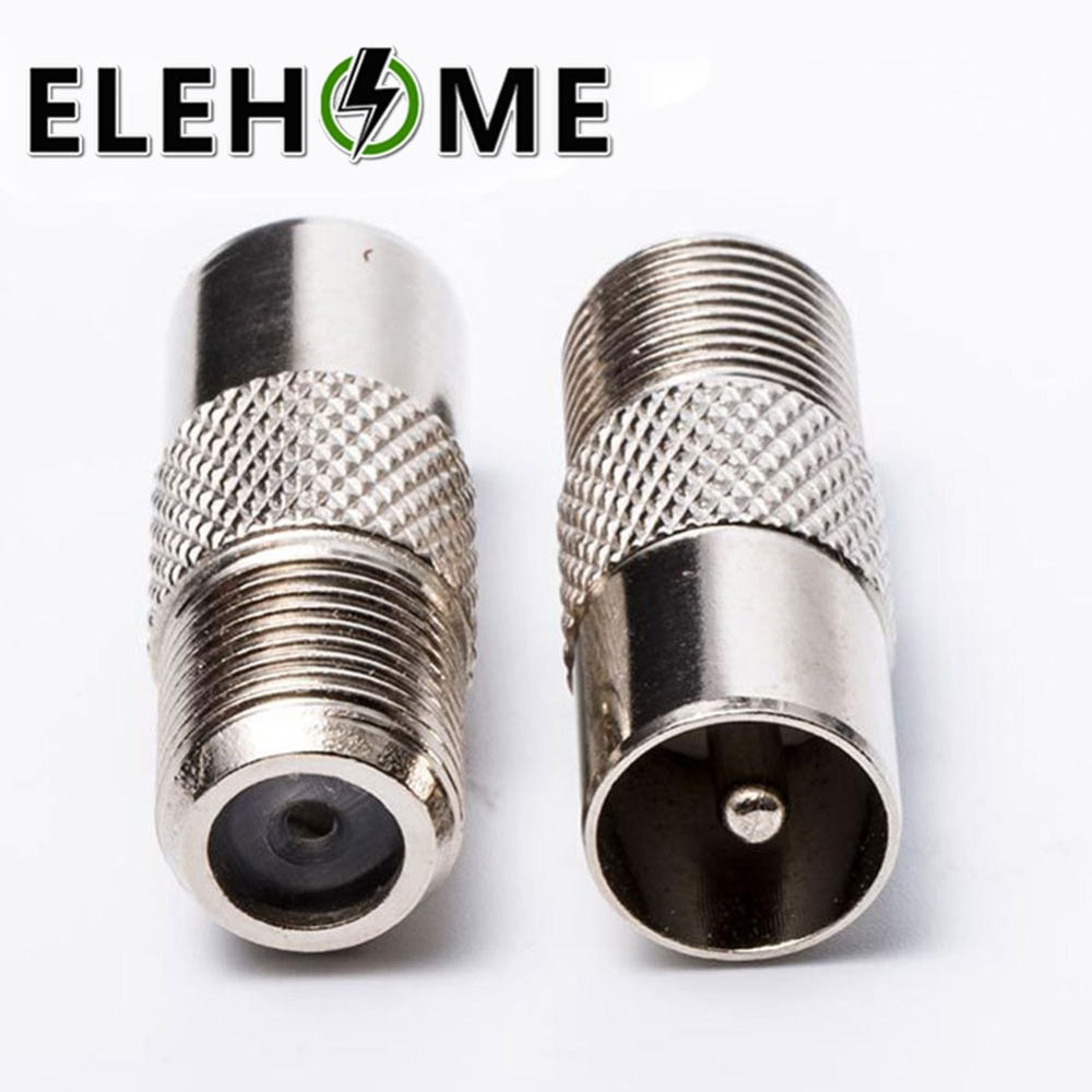 1/2 Pcs Silver Tone Plated F Female To TV Pal Male Plug RF 9.5mm TV Satellite Antenna RF Coaxial Adapter XF30
