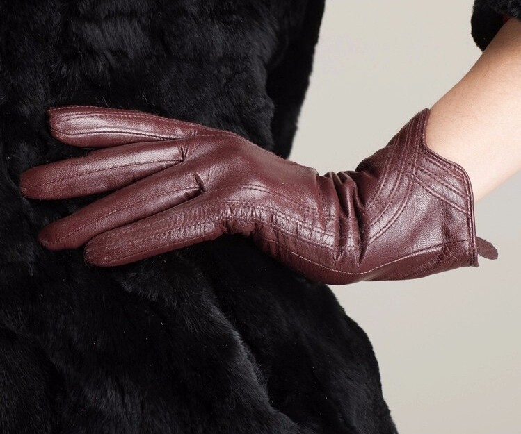 High Quality Women Genuine Sheepskin Winter Women Leather Gloves Lady knitting lined Warm Winter Mittens women gloves 17