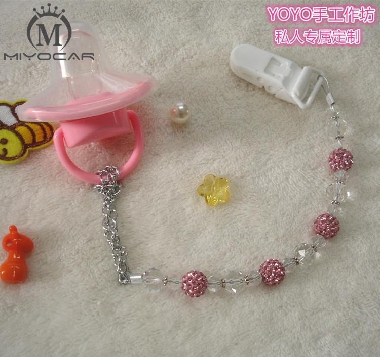 MIYOCAR Upea prinsessa vaaleanpunainen bling kristalli käsin tehty tutti ketju / tutti leikkeet / Dummy clip / teethers clip / tutti haltija  t