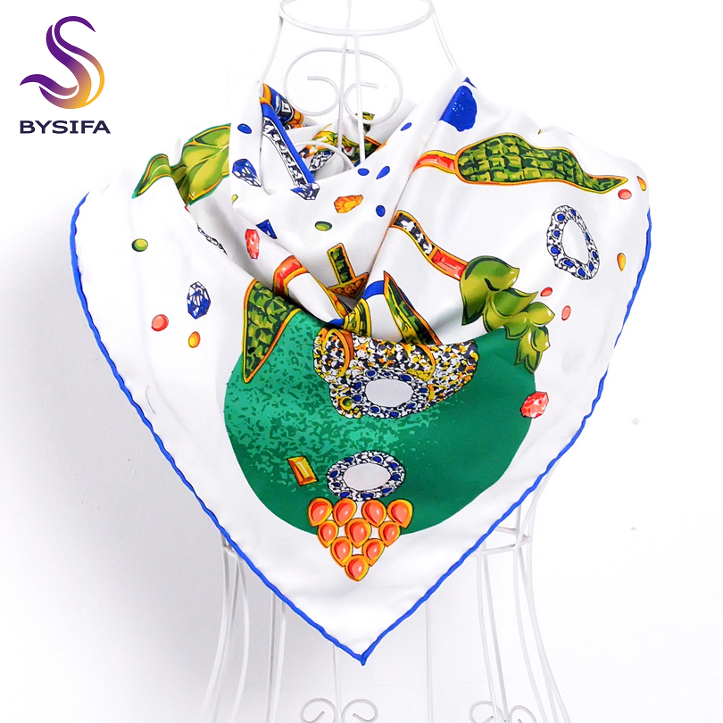 [BYSIFA] Ladies Leaves Diamond Pattern Fashion Brand Design Women Ladies Silk Scarf Shawl 90*90cm Brand Twill Square Scarves