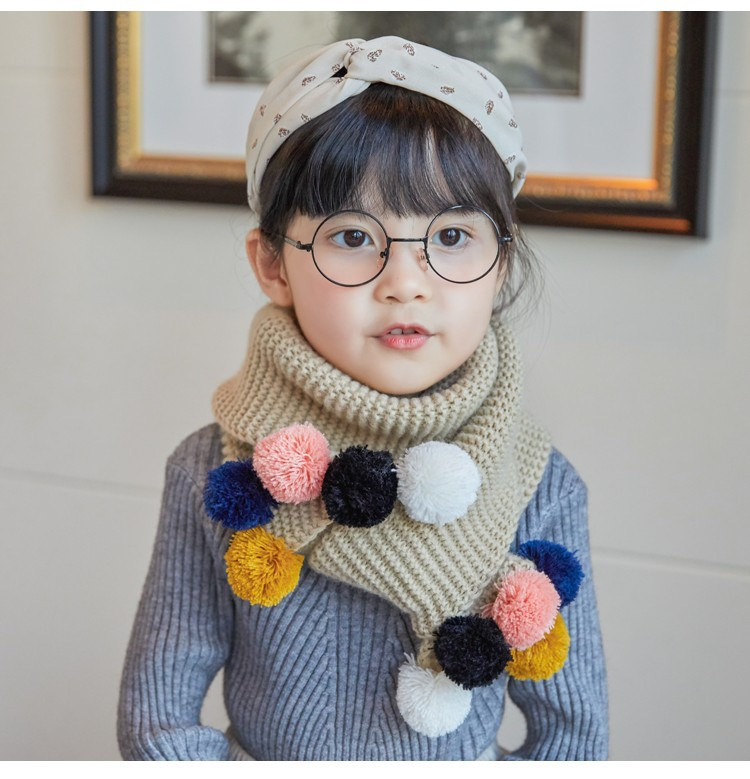 2018 Winter Spring Autumn Cotton Baby Scarf Children Girls Boys Kintted Wool O-Scarves Chidren Outing Protect Kint Solid Color