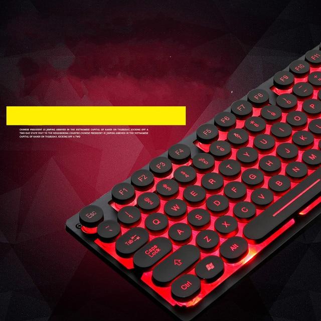 Wired Backlit Keyboard Retro Round Key Cap Universal Gaming Desktop Notebook Wired USB Illuminated Punk Steam Retro Keyboard 3