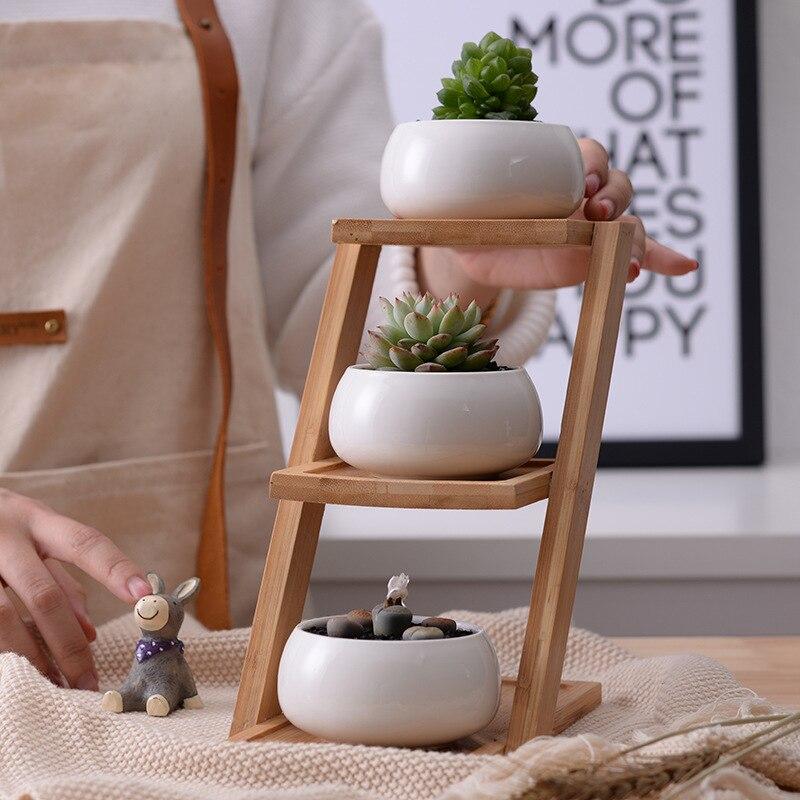 1 juego Unidades moderno minimalista blanco maceta de cerámica suculenta maceta 3 macetas bonsái con 3 niveles de estante de bambú decoración de jardín para el hogar