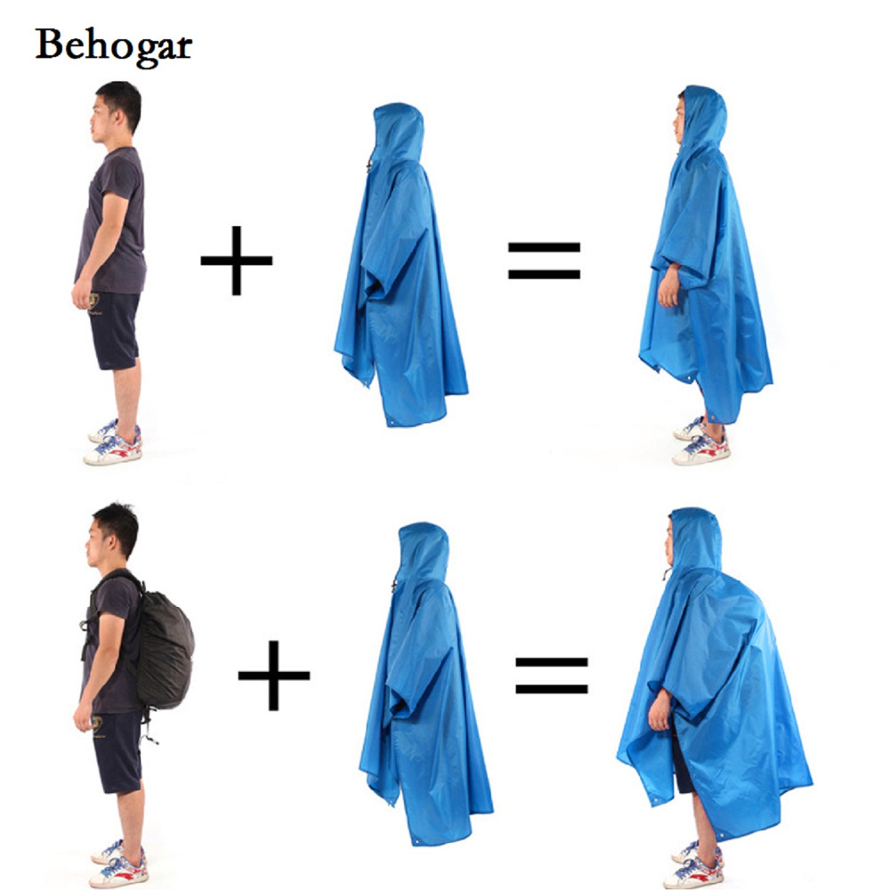 Behogar Sports Hiking Camping Multi-function Raincoat Poncho/Backpack Hood/Ground Pad Mat/Sunshade impermeable Rain Coat Cover