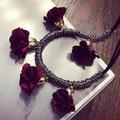 Envío Libre Collar de Cristal Exagerada partido de Moda largo Collar de la joyería para mujer rojo azul negro Rosa collar de cristal