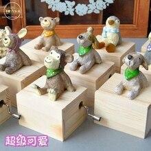 Small animal hand crank music box for new year Christmas wedding and birthday wool mini child girls gift free shipping