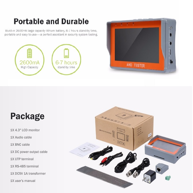 IV7A 4 3 Inch HD AHD CCTV Tester Monitor AHD 1080P Analog Camera PTZ UTP Cable Tester 12V1A Output in Transmission Cables from Security Protection