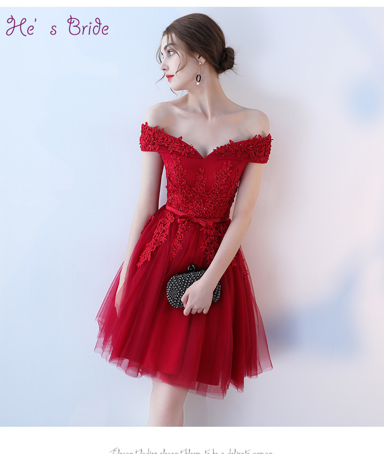 Hes Bride Sexy Party Custom Boat Neck Off Shoulder Lace Up Back Above Knee Mini Red Cocktail Dress Vestidos Cortos De Cocktail 2019 Official Weddings & Events