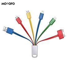 Только зарядка Chafon 6 в 1 мульти usb зарядный кабель с микро, мини-usb портами кабель(цветной