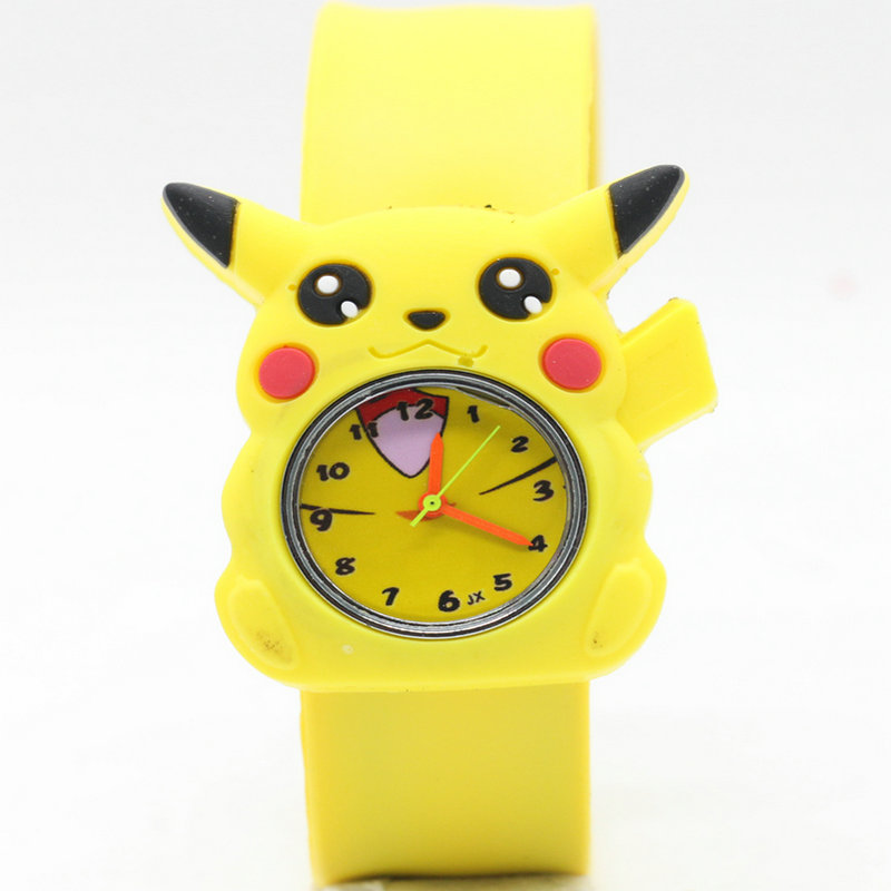 High Quality Snap Watches 3D Kids Cartoon Watches For Pikachu Children Christmas Gift Sports Silicone Slap Wristwatch