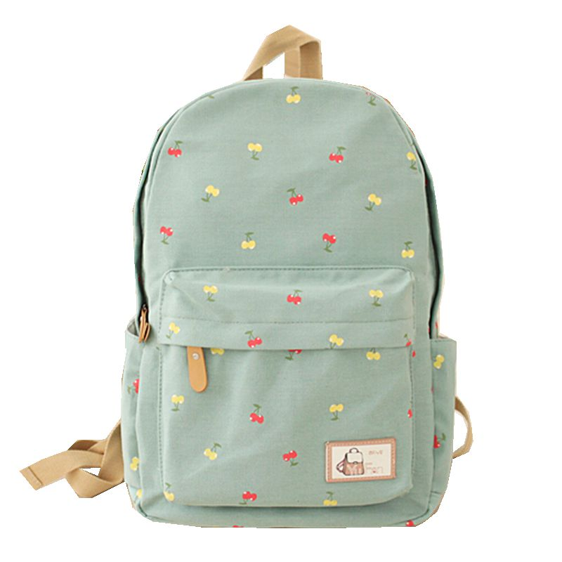 Preppy Style Fruit Cherry Print Backpcks New Hot High Quality Women Girl Canvas Backpack Leisure School Bag for Teenagers Travel pleega new 2017 preppy style student leisure school bag teenagers girl canvas backpack boy school backpack big backpack notebook