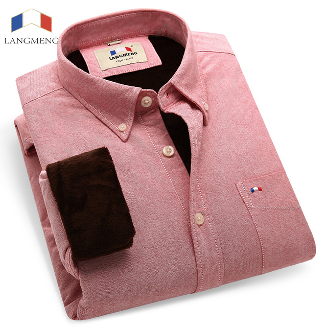 Langmeng novo 2016 camisa dos homens casuais quente de inverno regular de manga longa roupas de algodão espessamento moda masculina camisas de vestido de oxford