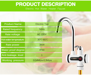 Image 4 - Electric Hot Faucet Water Heater Electric Tankless Water Heating Kitchen Faucet Digital Display Instant Water Tap 3000 W