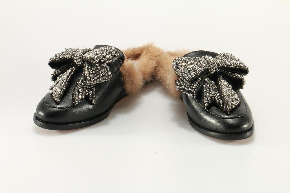 Jeweled As Sintetica Mocassini Modo Più Tie Scivoli Colore Caldo Sandali Nero In Picture Bow Pelle Di Princetown 2017 Delle Donne Pelliccia UpVSzM