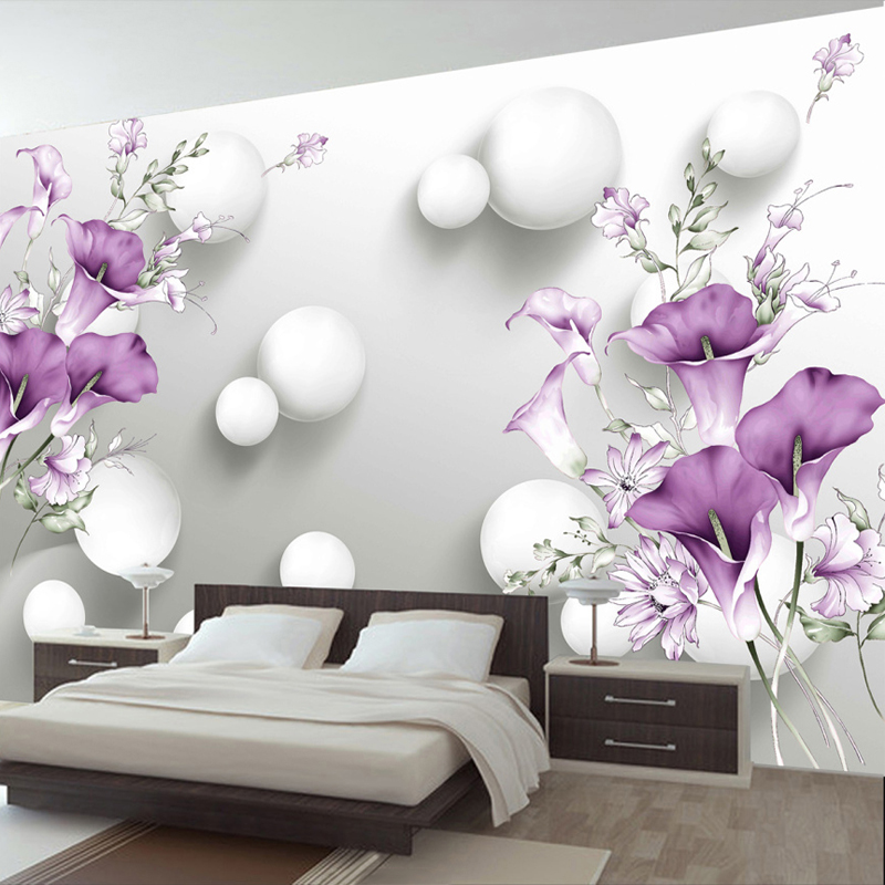Custom Murals Wallpaper Modern 3D Stereo Circle Ball Purple Flowers Photo Wall Cloth Living Room Bedroom Backdrop Wall Covering