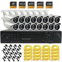 CCTV 24CH 1080P NVR 16pcs Network IP HD 2MP Camera ONVIF Security System