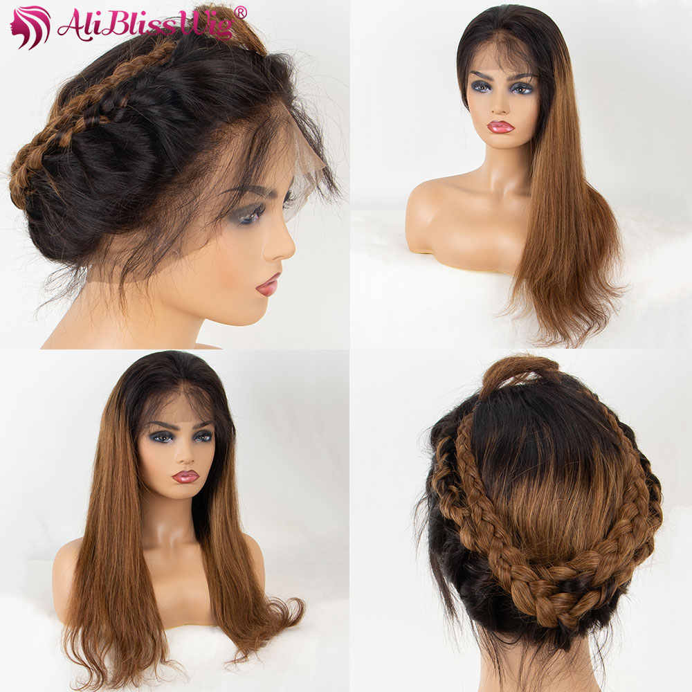 360 Lace Frontal Wig Ombre Brown Straight Lace Front Human Hair Wigs For Women Brazilian Remy Ponytail Natural Hairline