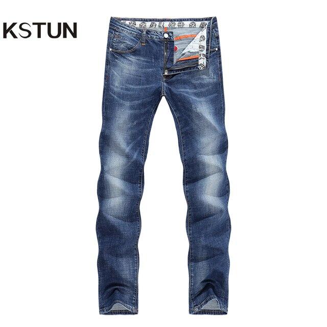 cb0fb90ad04a24 KSTUN dżinsy męskie letnie cienkie Business Casual proste obcisłe dżinsy  Stretch Denim spodnie spodnie klasyczne Cowboys