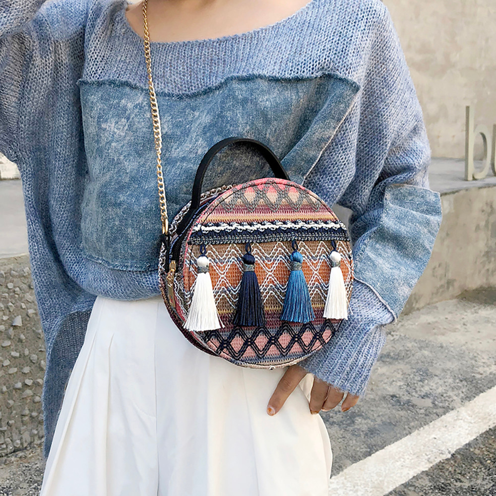 Women Tassel Chain Small Bags national wind round bag packet Lady Fashion Round Shoulder Bag Bolsos Mujer#A02 87
