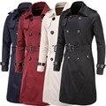 Outono inverno longo casaco de trincheira magro dos homens homens do revestimento de poeira casaco de vento de alta qualidade homens jaqueta de inverno longos homens britânico