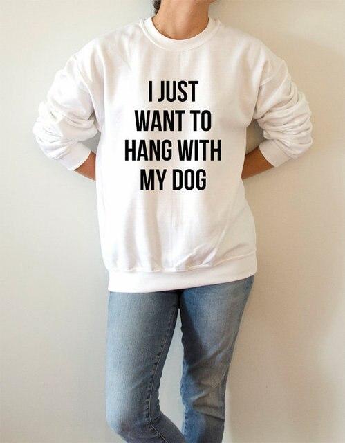 Voglio Solo Appendere Con Il Mio Cane Di Modo Delle Donne Felpata